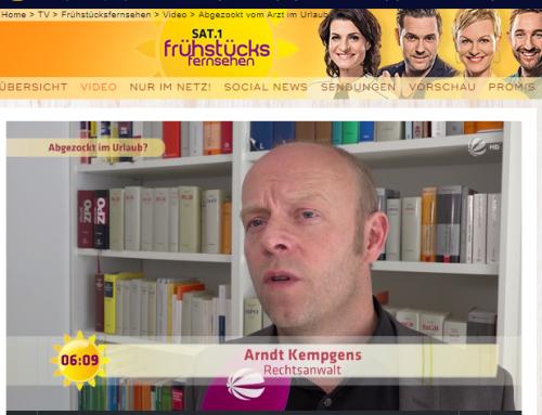 Sat.1 Frühstücksfernsehen 31.8.2017: Krank im Urlaub. Ärger mit Arztrechnungen. RA Kempgens im Experteninterview.