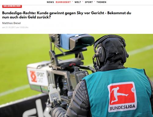 21.10.2017: Klageerfolg für Sky-Kunden. Kanzlei Kempgens setzt fristlose Fußball-Kündigung durch