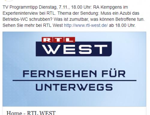 7.11. RA Kempgens bei RTL West. Was müssen sich Azubis gefallen lassen und was nicht..