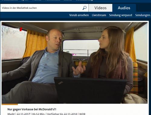 "22.11.2017. RA Kempgens im WDR Investigativ-Bulli der TV-Sendung ""Markt"". Thema: Vorkassensystem in Restaurants.."