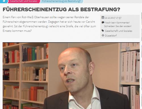 12.12. RA Kempgens bei SAT.1: Führerscheinentzug als allgemeine Strafe?