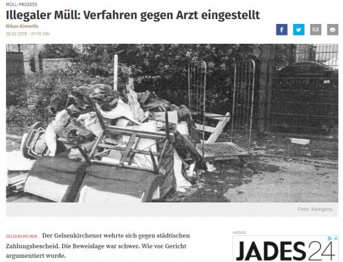 28.2.: WAZ Bericht über kuriosen Müll-Fall unserer Kanzlei. Verfahren gegen Arzt eingestellt.