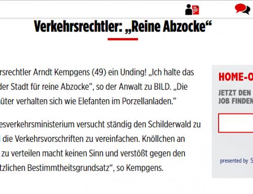 BILD Zeitung 3.4.2018: Knöllchen-Abzocke in Köln. RA Kempgens im Exprteninterview.