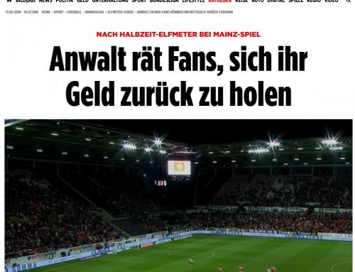 17.4.2018 BILD online: Geld zurück nach Elferdebakel in Mainz. RA Kempgens zur Rechtslage